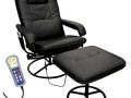 Heated Massage Recliner and Ottoman, Black
