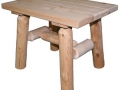 Log End Table, White Cedar