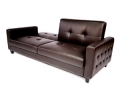 Tufted Faux Leather Sofa Bed, Brown