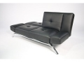 Modern Faux Leather Couch, Black