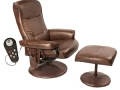 Heated Massage Recliner and Ottoman, Brown