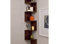 Corner Zig Zag Wall Shelf, Walnut