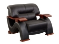 Wavy Leather Chair, Black