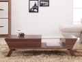 Coffee Table with Glass Insert, Walnut or White