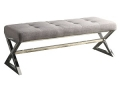 Linen Bench with Metal Base in Grey