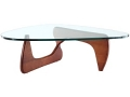 Triangle Glass Coffee Table in Cherry or Walnut