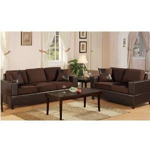 Microfiber sofa and loveseat chocolate bachelor on a budget for Bachelor pad couch