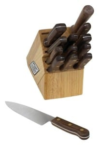 14 Piece Stainless Steel Knife Set, Walnut Wood Handles HP