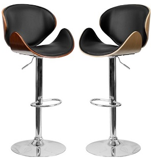 Rotating Bar Stool Wood Vinyl In Walnut Or Beech