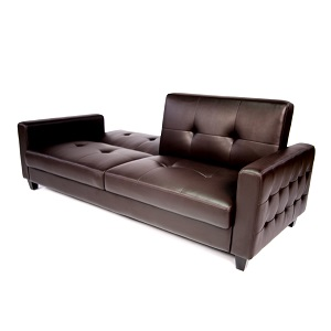 Tufted faux leather sofa bed brown bachelor on a budget for Bachelor pad couch