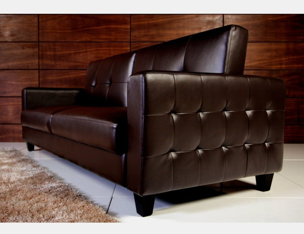 Tufted faux leather sofa bed brown bachelor on a budget for Tufted leather sleeper sofa
